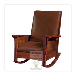 Mission Rocking Chairs - This beautiful Morris Chair Rocker is an identical Historic Reproduction of Gustav Stickley's Arts Crafts Rocker #323 Slat Arms.  Later the rocker became available in spindle as well around 1914. It is 100% Handcrafted in the United States by our Master-Craftsmen and Guaranteed for Life!