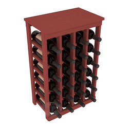 24 Bottle Kitchen Wine Rack in Pine with Cherry Stain - Petite but strong, this small wine rack is the best choice for converting tiny areas into big wine storage. The solid wood top excels as a table for wine accessories, small plants, or whatever benefits the location. Store 2 cases of wine in a space smaller than most televisions!