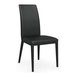 Calligaris - Anais Chair, Black - Supple Italian leather from stem to stern, this dapper chair must be touched to be believed. The feel so soft, the shape so clean, the black so black — find the perfect spot in your home to showcase a classic.