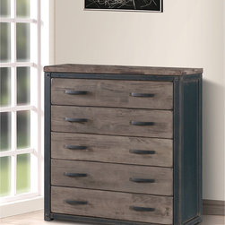 None - Heritage 5-drawer Chest - This Heritage chest is rustic in feel and sturdy in construction with a vintage-looking finish. This wooden chest has five drawers to add storage space and style to your bedroom.
