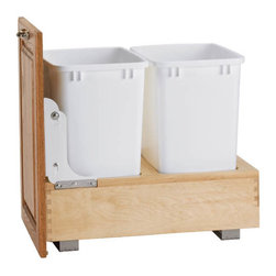 "Rev-A-Shelf - Rev-A-Shelf 4WC-18DM2 Double 35 Qt. Bottom Mount Waste Container - White - Now you can hold all of your kitchen waste in style. This unit keeps both 35 quart waste containers neatly hidden and out of sight, and slides out with ease from your lower cabinet on a durable wood base that matches almost any cabinet color. The Rev-A-Shelf 4WC-18DM2 Double 35 Qt. Bottom Mount Waste Unit arrives fully assembled and features two 35 quart white colored waste bins, smooth rolling 150 lb rated full-extension slides, and pre-assembled door mount brackets for easy installation to your existing cabinet door face. The entire unit can be installed to the bottom of your cabinet with ease. Physical specifications: 14-1/4"" W x 21-3/4"" D x 19-1/4"" H. Please make sure you have a minimum cabinet opening of at least 15"" W x 22-3/8"" D x 19-3/8"" H to ensure a proper fit. Lids sold separately."
