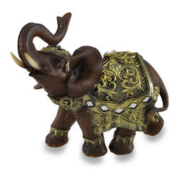 Zeckos - Exotic Wood Look and Gold Finish Trunk Up Thai Elephant Statue - Add an amazing exotic accent to your home or office with this incredibly detailed 7.75 inch (20 cm) high, 8.25 inch (21 cm) long, 4.75 inch (12 cm) wide wood and antique gold colored elephant statue. Made of cold cast resin, it looks wood carved, and is highlighted with a faceted jewel and mirrored glass pieces, and looks amazing on desks, shelves and tables in your home, office or shop. This exotic trunk-up-for-luck wood look and gold finish elephant statue makes a great holiday or housewarming gift sure to be admired