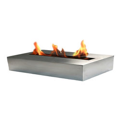 Bloc 67 ounce Ethanol Burner - Bloc 67 oz Ethanol Burner will give a warm, gentle, authentic flame, which creates a sublime ambiance in any setting. This fireplace is easy to install, yet will create a sophisticated look for your home or business. This fireplace is ideal for entertaining, can be used indoors or outdoors.