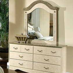 Standard Furniture - Vanity Dresser w Mirror Featuring Simulated M - Set includes Dresser and Mirror. Intricate carvings and interesting detail throughout create simple elegance. Cast metal hardware with a simulated bronze finish. Cast metal adornments on mirror feature a distinctive simulated bronze finish. Beautiful simulated Jura Block finish gives the appearance of a fine light colored marble. Rich faux stone color tops present attractive, easy-to-clean surfaces. French dovetail construction throughout enhances durability. Roller side drawer guides provide ease and convenience. Top drawers are felt lined to protect delicate items. Quality wood products bonded together creates durable construction throughout. Surfaces clean easily with a soft cloth. Products may contain some plastic parts. Dresser has six drawers which allow generous storage space. Dresser: 16 in. W x 58 in. L x 30 in. H (122 lbs.). Panel Mirror: 38 in. L x 46 in. H (30 lbs.)Florence, by Frisco Manufacturing, features an inviting look through the combination of contemporary class and traditional style.