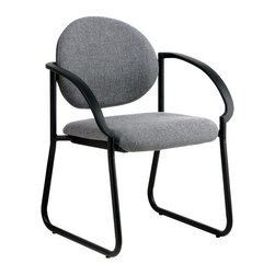 Office Star - Deluxe Sled Base Arm Chair (Royal in Legend P - Fabric: Royal in Legend PatternThe dappled heather grey fabric of this beautiful accent arm chair is thickly padded on both the contoured seat and comfortable back.  Express grade fabric means durable upholstery for long lasting use and style.  The contemporary black frame is a simple accent for waiting rooms and guest seating areas and will support visitors in style and comfort. * Padded Seat and Back. Express Grade Fabric. Black Frame.  Seat Size: 19W x 19.5D x 4T. Back Size: 20W x 26H x 4.5T. Overall Max: 45H x 29W x 29.5D