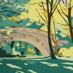 """Stone Footbridge"" Artwork - A stone bridge in autumn along the ""emerald necklace"" area of boston. the dimensions above are the sheet size; the image is 10.5"" x 18""."