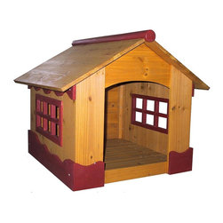 Merry Products - Burgundy Wood Trim Dog House with Large Windows - Give your pet the best Dog House in town.  Features large, paned windows for grand-scale viewing along with chalet-style burgundy wood trim.  Sloping roof repels water and raised floor will keep your favorite friend high and dry.  Just add a comfy pillow.  The large windows of this dog house allows for adequate ventilation for your pet. * Assembly Required. Door size: 12 in. W x 14 in. H. Inside: 21 in. L x 19 in. W x 21 in. H. House: 26.5 in. L x 25.4 in. W x 22.8 in. HThis fun looking house with Burgundy Wood trim offers your pet a sense of security while its large windows allow for maximum visibility to your pet's surroundings, satisfying its natural curiosity