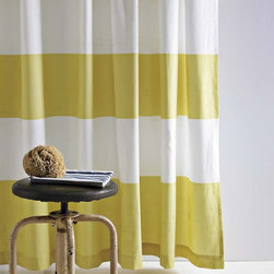 Stripe Shower Curtain, Citron - Who doesn't love stripes? This shower curtain with bold yellow stripes is sure to add pizzazz to any bathroom.