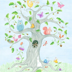 "The Little Acorn - The Wishingtree Painting-Large - The Wishing Tree, originally hand-painted in watercolor by Bridget Kelly, is a magical tree where forest animals live together happily. What a sweet and peaceful place.Raccoon peaks out from his little nest inside the tree, butterflies flutter quietly, wise owl sleeps, everyone is happy and content. Dimensions and Details: Size: Large- 31""x 36"" Just remove art from box and hang on the wall (nails not included) Saw tooth mount, No framing, no glass, and no hassle. Safest art for baby and children's rooms. Pine wood frame with cotton canvas surface.Easily cleaned with a dry soft cloth. Made in China"
