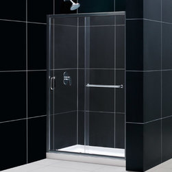 Dreamline - Infinity-Z Frameless Sliding Shower Door & SlimLine 36x48 Single Threshold Base - This kit combines the INFINITY-Z shower door with a coordinating SlimLine shower base to create the perfect solution for a shower space makeover. The INFINITY-Z pairs a sliding shower door with a stationary glass panel to provide a comfortably wide shower entry. The stationary panel is fitted with a convenient towel bar that doubles as a handle. The SlimLine shower base completes the look with a low profile design for a sleek modern look. Choose an efficient and cost effective DreamLine shower kit to completely transform a shower space.