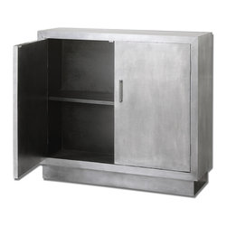 Industrial Aluminum Clad-Console Cabinet - Our meticulously crafted console cabinet offer the industrial appeal of industrial era. Sturdy case wrapped in the soft sheen of aluminum clad with black interior, one fixed shelf and clean metal bar door pulls.