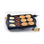 "Presto - Tilt'n Drain Big Griddle 23"" - Tilt 'n' Drain Big Griddle Electric Griddle. This griddle offers and efficient ""square"" shape that holds more pancakes eggs and sandwiches than most conventional rectangular griddles. Cool touch base surrounds the grilling surface on the front and both sides. Huge cooking surface cooks up to 50% more than other jumbo griddles. Cool-touch base surrounds the cooking surface on the front and both sides. Slide-out drip tray empties easily. The heavy cast aluminum base with premium nonstick surface assures stick-free cooking and easy cleaning. Built-in backstop ledge for convenient food handling. Control Master heat control maintains the desired cooking temperature automatically. Griddle is fully immersible with the heat control removed. Dimensions: 23""W x 17. 25""D x 3. 5""H."