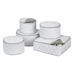 Dinnerware Storage Set - Cushioned and quilted, this storage container with zipper closure helps protect dinnerware in storage or transport. Each storage container accommodates 12 pieces.