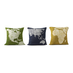 Modern Cotton Handmade Pillows - Set of 3 - Rest your head close to home on the North/Central America pillow or drift off to far away lands with the Asia/Australia and Africa/Europe versions. Either way, you can rest assured that these bright and cheery pillows help the greater good by providing fair wages and development opportunities for artisans in South West India. Pillow cases are made of cotton and decoration is applied using Batik, a traditional Indian art to create patterns on fabric. Set of three pillows.