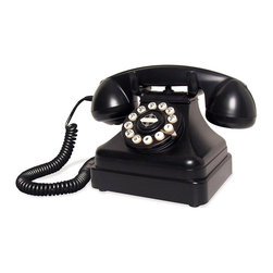 Crosley Radio - Desk Phone, Black - Push Button Technology. Rotary Fashion Dial. Flash/Redial Feature. Tone/Pulse Switch. Ringer Volume ON/OFF Switch. Ear-piece Volume Control. Pictured in Black