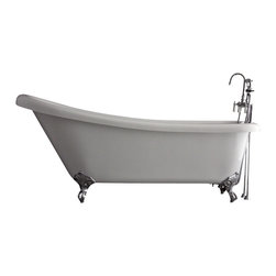 "Baths of Distinction - Hotel Collection 67"" Single Slipper Clawfoot Bathtub/Faucet Package - Package consists of an absolutely breathtaking 67 single slipper clawfoot bathtub along with hardware including faucet with handheld shower, drain with lift off stopper, straight supply lines and claw feet all in chrome.  Bathtub is made of CoreAcryl acrylic with a resin/powdered stone filler.  Bathtub has a built in aluminum hear barrier within the tub body."