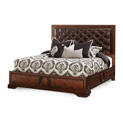 AICO Furniture - Bella Cera California King Panel Bed with Leather Tufted Headbo -
