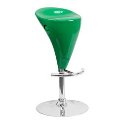 Flash Furniture - Flash Furniture Barstools Plastic Residential Barstools X-GG-NG-30018-3CT-HC - This Retro stool is shaped for comfort and style. The seat is joined with chrome finish base and round footrest. This attractive stool will accent your kitchen, dining, or bar area. The dual purpose design performs as a counter height stool or a bar height stool. The height adjustable swivel seat adjusts from counter to bar height with the recessed handle located below the seat. [CH-TC3-81003-GN-GG]