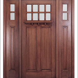 MAI - Craftsman Entry Door Model HTC-500 - Model HTC-500 is from our Home Towne Collection. Door is solid Mahogany.  Styled for Craftsman and Arts & Crafts Homes.  This door can be purchased as one door, two doors, or doors with matching sidelites.