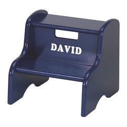 Little Colorado - Blue Personalized Step Stool - Give little ones a lift with the help of this handy personalized step stool. It provides them with a boost when trying to reach the top shelves of bookcases or turn off a running faucet after brushing their teeth.   12'' W x 11'' H x 13'' D Medium-density fiberboard / birch plywood Recommended for ages 3 years and up Made in the USA