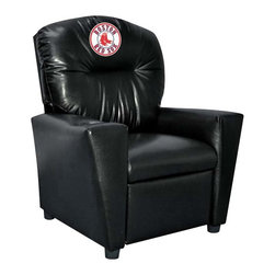 Imperial International - Boston Red Sox MLB Faux Leather Tween Recliner - Check out this awesome Tween Recliner - it's the perfect size for those Tween years. Now the whole family can join in and watch the game in their favorite chair! It has a great contemporary design with black faux leather all over, and a cup holder. The team logo is embroidered and sewn on the headrest. It's perfect for your Man Cave, Game Room, Garage or Basement.