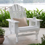 Belham Living Vella Eucalyptus Adirondack Chair - White - The Belham Living Vella Adirondack Chair – White is a lovely lounge chair for your backyard. This craftsman-inspired chair is crafted from solid eucalyptus and painted in crisp white finish. The craftsman detail continues to the arm rest supports offering vertical mission-like charm. With an inviting charm the Vella Adirondack Chair welcomes you right in. Wooden Outdoor Furniture Care and MaintenanceThe finish on wood outdoor furniture when exposed to an environment with substantial temperature changes (moisture sun and salt air) can change over time. It is not uncommon and users should expect some swelling discoloration or possible surface cracks due to the outside exposure and changes in the weather. These are considered natural occurrences of wood and should not be considered as a product defect. To prolong the life of your item you should consider placing under a covered area. About Belham Living Belham Living builds catalog-quality furniture in traditional styles at a price that actually makes sense. By listening to our customers and working closely with great manufacturers we build beautiful pieces worthy of your home. Rich wood finishes attention to detail and stylish lines that tie everything together are some of the hallmarks of a Belham Living piece. From the living room or bedroom through the kitchen and out onto the deck there's something from an incredible Belham collection perfect for your style.