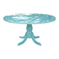 Fable Porch Furniture - Round Emerson Pedestal Dining Table, 48 X 48 X 30 - Distressed Pedestal Dining Table