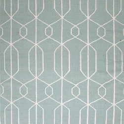 Jaipur Rugs - Flat Weave Geometric Pattern Blue Wool Handmade Rug - MR16, 3.6x5.6 - An array of simple flat weave designs in 100% wool - from simple modern geometrics to stripes and Ikats. Colors look modern and fresh and very contemporary.