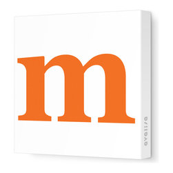 """Avalisa - Letter - Lower Case 'm'  Stretched Wall Art, 12"""" x 12"""", Pumpkin - Spell it out loud. These lowercase letters on stretched canvas would look wonderful in a nursery touting your little one's name, but don't stop there; they could work most anywhere in the home you'd like to add some playful text to the walls. Mix and match colors for a truly fun feel or stick to one color for a more uniform look."""
