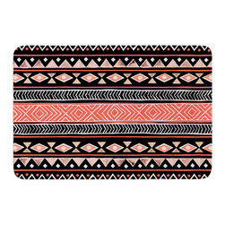 """KESS InHouse - Skye Zambrana """"Mojave Black"""" Black Red Memory Foam Bath Mat (17"""" x 24"""") - These super absorbent bath mats will add comfort and style to your bathroom. These memory foam mats will feel like you are in a spa every time you step out of the shower. Available in two sizes, 17"""" x 24"""" and 24"""" x 36"""", with a .5"""" thickness and non skid backing, these will fit every style of bathroom. Add comfort like never before in front of your vanity, sink, bathtub, shower or even laundry room. Machine wash cold, gentle cycle, tumble dry low or lay flat to dry. Printed on single side."""