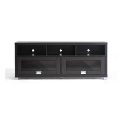 Baxton Studio - Swindon Modern TV Stand with Glass Doors - Sleek sliding overhead-style glass doors and plentiful storage are the trademarks of the handsome Swindon TV Stand. The entertainment center is made of lapped chipboard with dark brown paper veneer, silvertone hardware, and includes openings in the rear for easy cable management.