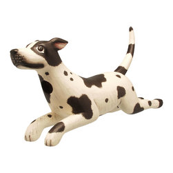 Songbird Essentials - Leaping Black/White Spotted Dog Birdhouse - Songbird Essentials adds color & whimsy to any garden with our beautifully detailed wooden birdhouses that come ready to hang under the canopy of your trees. Hand-carved from albesia wood, a renewable resource, each birdhouse is hand painted with non-toxi