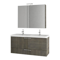 ACF - 47 Inch Grey Oak Bathroom Vanity Set - This bathroom vanity set is a his/her set perfect for your master bathroom. It comes complete with a vanity cabinet, ceramic double bathroom sink, lighted medicine cabinet, and tall storage unit. It was made in Italy by ACF and comes in a gray oak finish.
