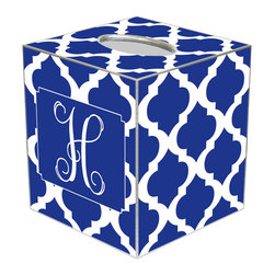 Marye Kelley - Chelsea Grande Royal Personalized Tissue Box Cover - The Chelsea Grande tissue box cover's custom design exudes modern glam. Featuring silver trim, this monogram accessory's mod Moroccan tile print excites in royal blue and white hues. Available in papier mache, tin and wood; Choose font style; Enter initial, name or monogram exactly as it should appear; Made in the USA