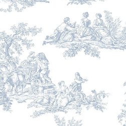 Large Toile in Blue and White - CH22510 - Collection:Grand Chateau