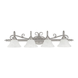 """Capital Lighting - Hammond 4-Light Vanity Fixture - Matte Nickel/Acid Washed - Hammond 4-Light Vanity Fixture.  Avail able in Matte Nickel finish with Acid Washed glass shades or Mediterranean Bronze finish with Mist Scavo glass shades.  Takes four 100W bulbs.  UL Listed.  Rated for Damp locations.  Backplate: 7.9"""" w x 5.3"""" h"""