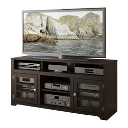 "Sonax - Sonax West Lake 60"" Television Stand in Mocha Black - Sonax - TV Stands - B602BWT - Admire the natural pairing of traditional and contemporary design in the new Television Bench from the Westlake Collection by Sonax. This timeless piece is featured in our warm Mocha Black stained wood veneer and accented with tempered glass cabinet doors with horizontal wood trim. Offering a variety of open and concealed storage options this prominent bench is perfect for all of your A/V components and accessories and can accommodate most TV's up to 68""."