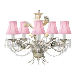 WROUGHT IRON FLORAL CHANDELIER WITH CRYSTALS AND PINK SHADES!
