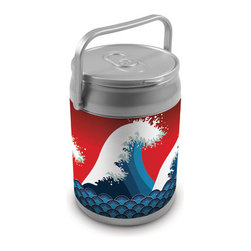 Picnic Time - Can Cooler - Tsunami Can - The Can Cooler by Picnic Time is a hard-sided cooler and large beverage can replica that also doubles as a seat. It holds ten 12-oz. cans and has a 9 quart capacity. It features a snugly fitting, fully removable lid and folding handle. Perfect for the beach, patio, tailgating, parties, and sporting events.