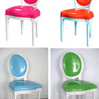 Pop Louis Side Chairs - For the truly bold, you could mix and match lots of neon tones with the classic look of the Louis chair. These come in several colors and have a slick, updated look.