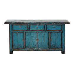 Blue Lacquered Gansu Buffet - Qing Dynasty three-drawer, four-door brilliant blue lacquered buffet. New interior shelf, interior drawers and hardware. Gansu, China, circa 1880s.