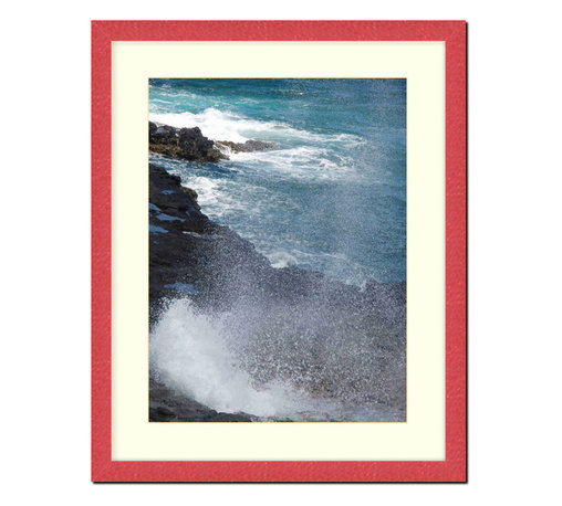 "Frames By Mail - Wall Picture Frame Hammered Red pearlized finish with a white acid-free matte, 1 - This 11X14 hammered red pearlized finish picture frame is 1"" wide and has a white matte, for an 8X10 picture, can be removed to accommodate a larger picture.  The frame includes regular plexi-glass (.098 thickness) foam core backing and can hang either horizontal or vertical."