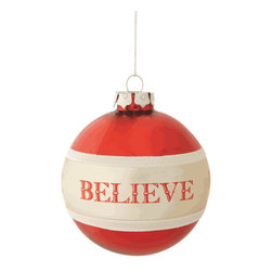 Midwest CBK - 'Believe' Christmas Tree Ornament - Believe Glass Ball Christmas Ornament