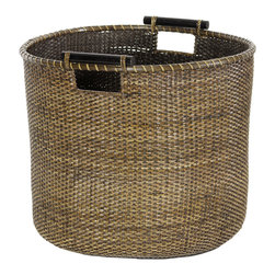 Oriental Furniture - Rattan Round Storage Bin - Antique Finish - This natural fiber basket is woven from split rattan with a rich antiqued finish. The kiln-dried wooden handles allow for easy portability. This elegant and practical design makes a great rustic decorative accent for your den as well as a portable storage bin or smaller hamper.