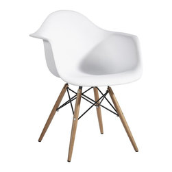 Hampton Modern - Plastic Arm Chair in White with Wooden Base - This wooden based arm chair serves well as a dining chair or as a stand alone accent chair, with a plastic seat that flexes just enough to make it comfortable.