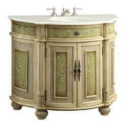 """Benton Collection - 41"""" Hand Painted Greenville Bathroom Sink Vanity - The beatiful Greenville bathroom sink vanity is decorated with hand painted floral design. It pays attention to all fine small details. Quietly, the soft pastel green provides elegance and luxury appearance to greatly enhances your bathroom. This quality piece is one of our top selections from our master craftsman."""