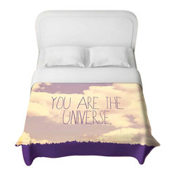 DiaNoche Designs - Universe Duvet Cover - Lightweight and super soft brushed twill Duvet Cover sizes Twin, Queen, King.  Cotton Poly blend.  Ties in each corner to secure insert. Blanket insert or comforter slides comfortably into Duvet cover with zipper closure to hold blanket inside.  Blanket not Included. Dye Sublimation printing adheres the ink to the material for long life and durability. Printed top, khaki colored bottom, Machine Washable, Product may vary slightly from image.