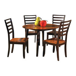 Steve Silver Furniture - Steve Silver Abaco 5-Piece Double Drop Leaf Dining Room Set - Let the Abaco double drop leaf table take center stage at your next dinner party or gathering. The dining table includes tapered legs and a very unique finished top. The Abaco collection is made of great craftsmanship so that you will enjoy this collection for years to come.