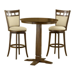 Hillsdale - Hillsdale Dynamic Designs 5 Piece Pub Table Set with Jefferson Stools - Hillsdale - Pub Sets - 4975PTBBRNSJF - The Dynamic Designs Pub Table Set is sleek and contemporary with a casual style that will fit in anywhere. The pub table has a pedestal base with a squared tapering center column. With its warm finish and chicly designed chairs this pub table set is sure to be the focal point of the family room kitchen or den.