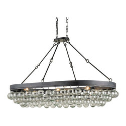 Kathy Kuo Home - Pastis Oval Blown Glass Balls Modern 6 Light Island Pendant - Bold, modern, and seriously stylish, this modern black iron ceiling mounted fixture presents a cluster of bulbs nestled behind glass balls - their proximity and shape create an effect of bubbles.  Simultaneously serious and playful, fans of modern design - especially the Italian varieties - will love this.